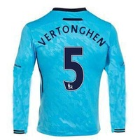 13/14 Tottenham Hotspur away long sleeve #5 Vertonghen Jerseys Blue Soccer Uniforms 2013-14 Cheap Football kit free shipping