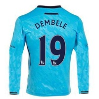 13/14 Tottenham Hotspur away long sleeve #19 Dembele Jerseys Blue Soccer Uniforms 2013-14 Cheap Football kit free shipping