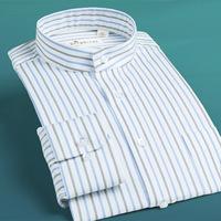 Deep sea stand collar shirt Men long-sleeve shirt blue white vertical stripe o-neck cotton 100% men's clothing business formal