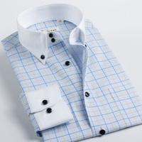 Deep sea deepocean brief elegant shirt male long-sleeve plaid 100% men's cotton clothing elegant check
