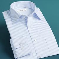 Deepocean shirt male blue powder ash long-sleeve slim male 100% men's stripe cotton clothing new arrival