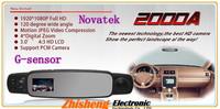 30pcs Full HD 1080P 3.0'' LCD Rearview Mirror Camera 2000A Car DVR 120 Degree Wide Angle Lens IR Night Vision HDMI G-sensor