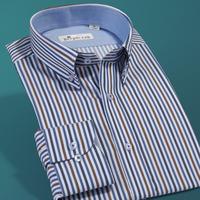 Deep sea deepocean 2013 autumn male button stripe long-sleeve shirt slim casual men's clothing