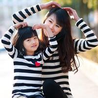 Parent-child summer time big 2013 clothing stripe gentlewomen princess one-piece dress long-sleeve T-shirt