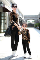 Children's clothing family fashion clothes for mother and daughter female child 2013 autumn medium-large child popular leopard