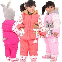 Small children's clothing winter thickening 2013 plus velvet cartoon rabbit infant set twinset child set