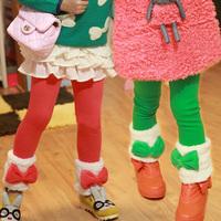 Winter children's clothing female child fleece bow legging baby trousers child trousers 20384