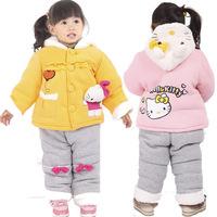 Small children's clothing winter new arrival 2013 plus velvet thickening cartoon female child set twinset child set 40382