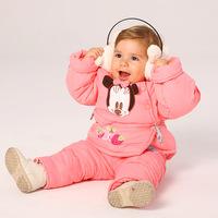 Children's clothing female winter child 2013 infant cotton underwear twinset baby thickening plus velvet cartoon child set