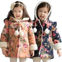 Children's clothing winter 2013 female child cotton-padded jacket medium-long plus velvet thickening child cotton-padded jacket