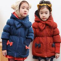 Children's clothing female winter child 2013 bow laciness medium-long patchwork baby wadded jacket child cotton-padded jacket