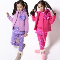 Children's clothing winter 2013 thickening female child berber fleece sweatshirt piece set bow dot child set 40384