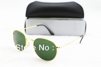 Fashion Brand Name Women's Men's sunglasses Round Metal Frame MODEL 3447 Gold frame Green lens 50mm with box