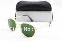 Fashion Brand Name Women's Men's sunglasses Round Metal Frame MODEL 3447 Gold frame Green lens 50mm with box