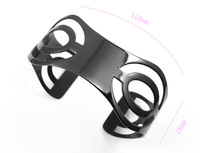 2014 New Year Hollywood Star Black Plated 316L Stainless Steel Multi Batman Pattern Cuff Bangle Bracelet