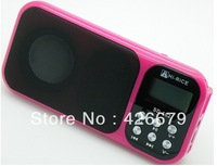 wholesale 100pcs  Hi-Rice Newest portable Mini Speaker Sd-102 TF&USB+FM+Dispaly+extra battery+Clock+alarm