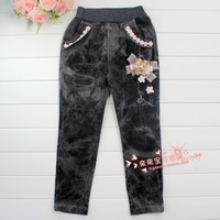 Danny BEAR children's clothing female child autumn bow bear child jeans long trousers
