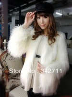 2013 European and American long fox fur goat grass beach wool leather jacket coat
