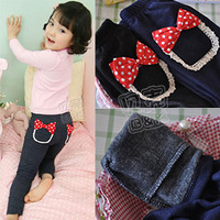 2013 autumn and winter bow girls clothing baby thickening plus velvet trousers legging kz-1279