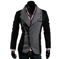 2012 spring fashion irregular zipper color block decoration cloth slim blazer 3184