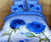 Blue Rose 3D comforter cover queen size 4pcs Pastoral duvet cover bed sheet bedclothes bedding sets cotton home textile