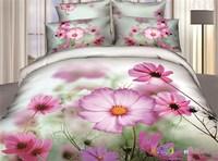 Pastoral Pink Daisy 3D bedding sets queen size 4pcs flowers comforter/duvet cover bed sheet bedclothes cotton home textile