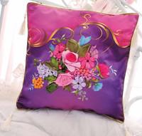 Free shipping Ribbon embroidery Cross Stitch   pillow cushions living room pillow car pillow DIY kit Cha Ziyan then a