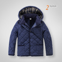 Hot Sale 2013 Fleece Lining Padded Hooded Coat for Boys, Elbow-Patch Detachable Plaid Hood Jacket Outwear for Kids 2 Colors 2T-6
