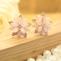 Min order is$10 Fashion elegant full rhinestone flower ear buckle stud  earrings rose gold anti-allergy Women accessories