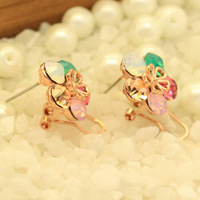 Min order is$10 Female brief exquisite full crystal cutout chinese knot stud earrings for girls free shipping
