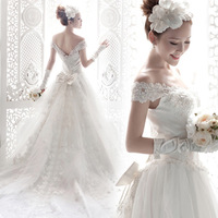 Princess bride train lace wedding dress formal dress 2014 winter maternity plus size/207.94