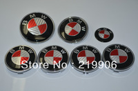 2013 new 7PCS Hood/Trunk Emblem Roundels + 4x Wheel Caps/68mm + Wheel Steering Sticker/45mm for BMW Red/White Carbon Fiber