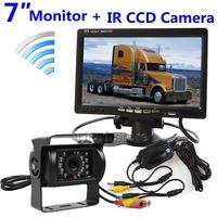 DC12V Wireless 7 Inch Rear View Car Monitor Backup IR Night Vision Waterproof CCD Camera System Kit