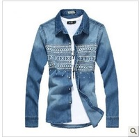 2013 male denim shirt male long-sleeve slim casual shirt spring and autumn outerwear thin