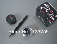 Free Shipping Hello Kitty Fluidline black Eye Liner Gel with brusher net 3g
