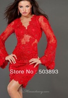 Free shipping formal dresses sexy red lace evening dresses new fashion 2014 short evening gowns long sleeve evening dress