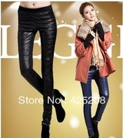 Female pants of the cultivate one's morality show thin stitching foot winter copy down pants with velvet with thick leggings