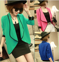 Free shipping Autumn women's fashion ruffle collar irregular color block chiffon cardigan blazer short jacket