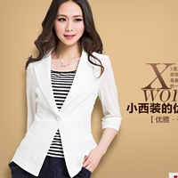 Free shipping Female 2013 blazer candy color three quarter sleeve short coat suit