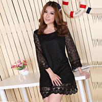 XL-4XL. Dresses New Fashion 2013.Plus Size Women Clothing Seven Sleeve Lace Mini Dress.Free Shipping!