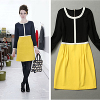 2014 New Arrival Runway Patchwork Dress Dresses women