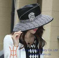 Free Shipping High Quality  Winter Chapeau Women Church Hat Winter Hats Satin Dress Hat Brim up Design Ladies' 100% Polyester