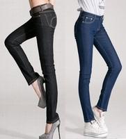 [T C] new 2013 woman jeans  pencil  winter  fashion  next  overalls for women  waist  jeans for women denim overalls women
