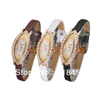 Women Oval Quartz Wrist Watches  leather  watches  3 Pcs/Set