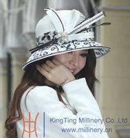 Hot Sale Winter Dress Hat Elegant Women Hats Satin Dress Hat for Church Big Brim Smooth Dome Design Ladies' 100% Polyester