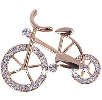 "Hot!!2013 fashion ""Bicycle lover""  fresh gold-plated crystal imitated diamond Brooch pins for women Free shipping"