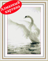 Free shipping DIY diamond painting diamond cross stitch kit Inlaid decorative painting White Swan in water DM110337