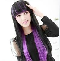 65cm long Straight mixed black/purple Harajuku Cosplay fashion Hair Wig