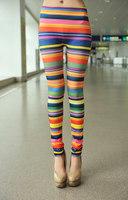 2014 Women's Fashion Print Rainbow Leggings Stretch Skinny Cheap price  H317