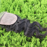 "Queen hair products 3 part closure body wave Brazilian Hair three part Lace Top Closure(4""*4"") body wave,10""-20"" natural Color"